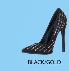 NIB Black & Gold Heels w/ Embellish Rhinestone